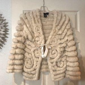 BCBGMAXAZRIA Rabbit Fur Cardigan